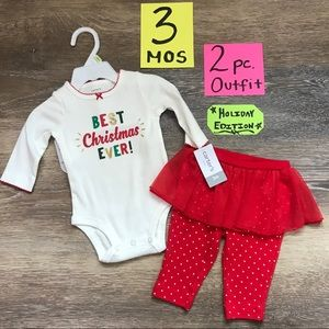 🎄NWT Carter's Girls 3 Month 2pc Christmas Outfit